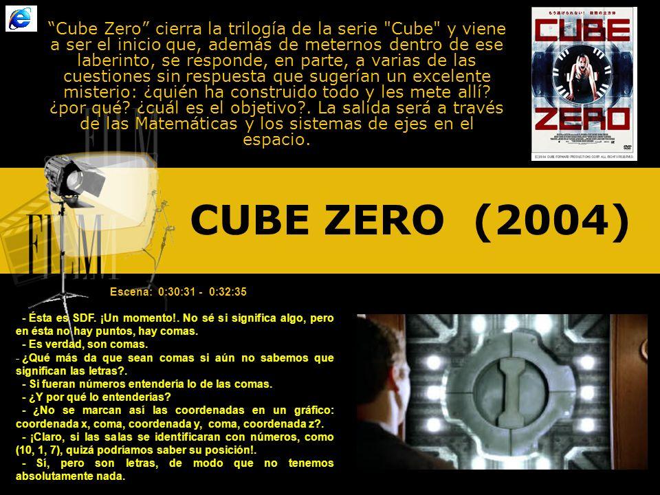 Cube Zero cierra la trilogía de la serie Cube y viene a ser el inicio que, además de meternos dentro de ese laberinto, se responde, en parte, a varias de las cuestiones sin respuesta que sugerían un excelente misterio: ¿quién ha construido todo y les mete allí ¿por qué ¿cuál es el objetivo . La salida será a través de las Matemáticas y los sistemas de ejes en el espacio.