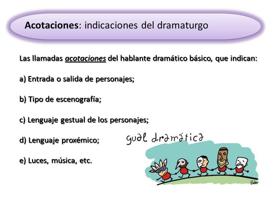 Acotaciones: indicaciones del dramaturgo