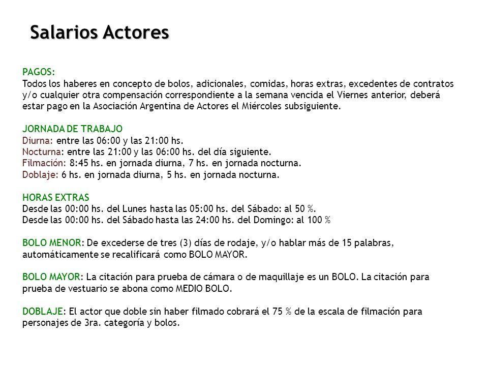 Salarios Actores PAGOS: