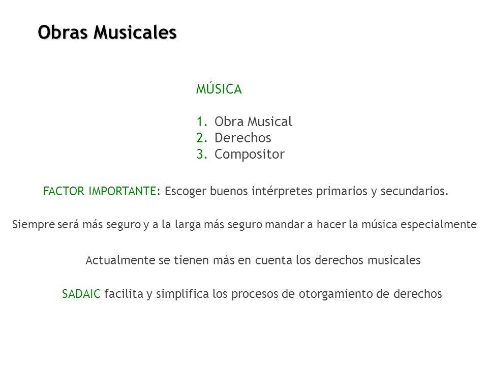 Obras Musicales MÚSICA Obra Musical Derechos Compositor