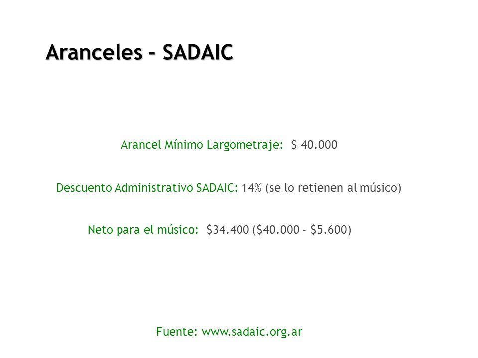 Aranceles - SADAIC Arancel Mínimo Largometraje: $ 40.000