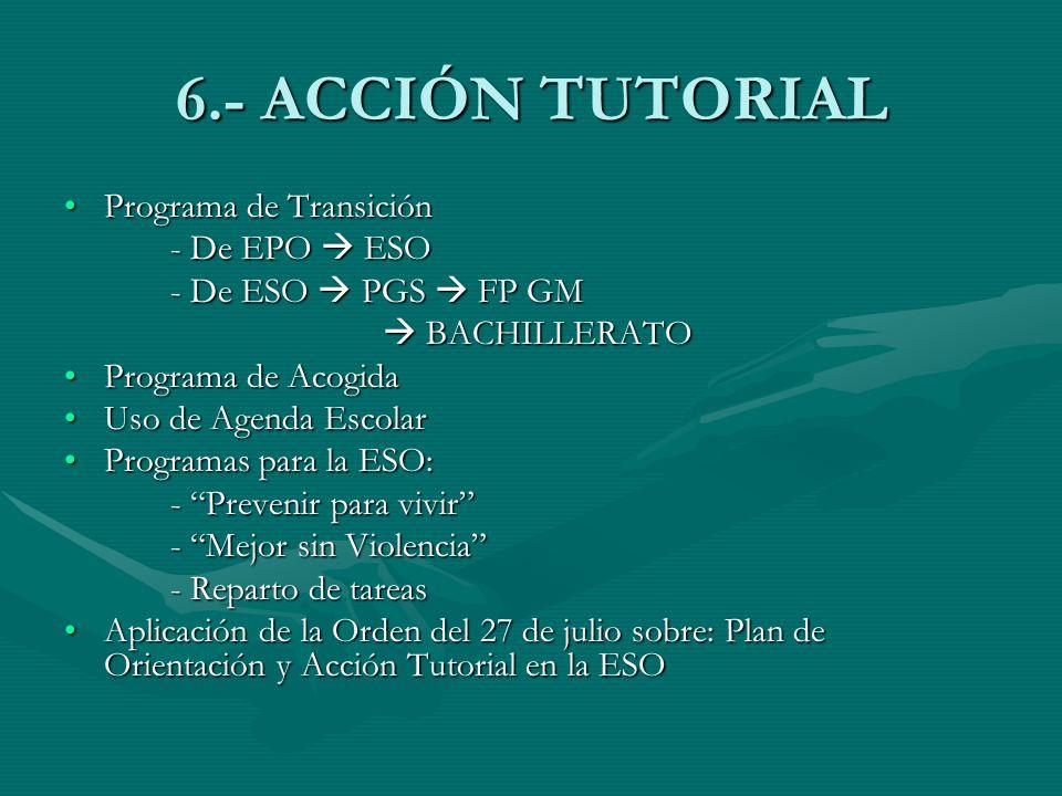 6.- ACCIÓN TUTORIAL Programa de Transición - De EPO  ESO