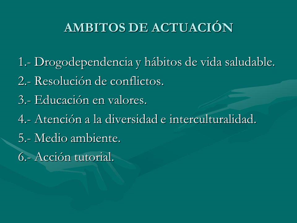 AMBITOS DE ACTUACIÓN 1.- Drogodependencia y hábitos de vida saludable. 2.- Resolución de conflictos.
