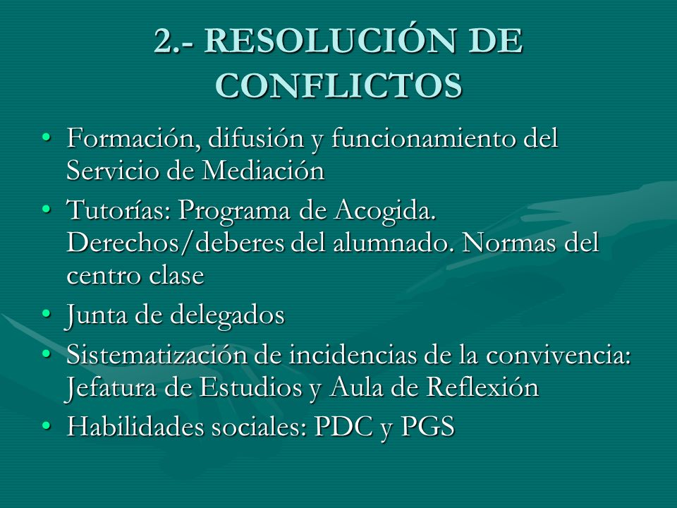 2.- RESOLUCIÓN DE CONFLICTOS
