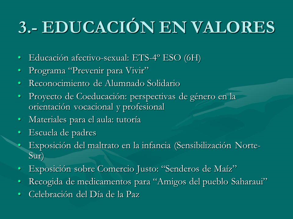 3.- EDUCACIÓN EN VALORES Educación afectivo-sexual: ETS-4º ESO (6H)