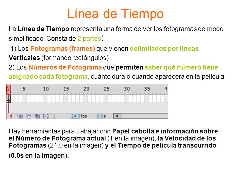 Línea de Tiempo La Línea de Tiempo representa una forma de ver los fotogramas de modo. simplificado. Consta de 2 partes: