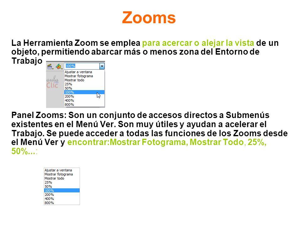 Zooms La Herramienta Zoom se emplea para acercar o alejar la vista de un. objeto, permitiendo abarcar más o menos zona del Entorno de.