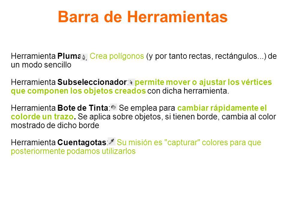 Barra de Herramientas Herramienta Pluma: Crea polígonos (y por tanto rectas, rectángulos...) de. un modo sencillo.