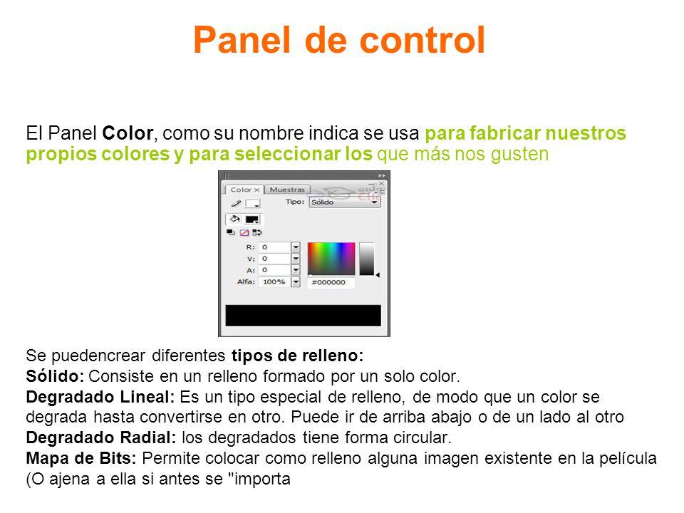 Panel de control El Panel Color, como su nombre indica se usa para fabricar nuestros. propios colores y para seleccionar los que más nos gusten.