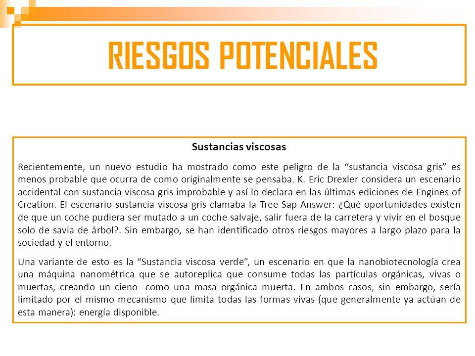 RIESGOS POTENCIALES Sustancias viscosas