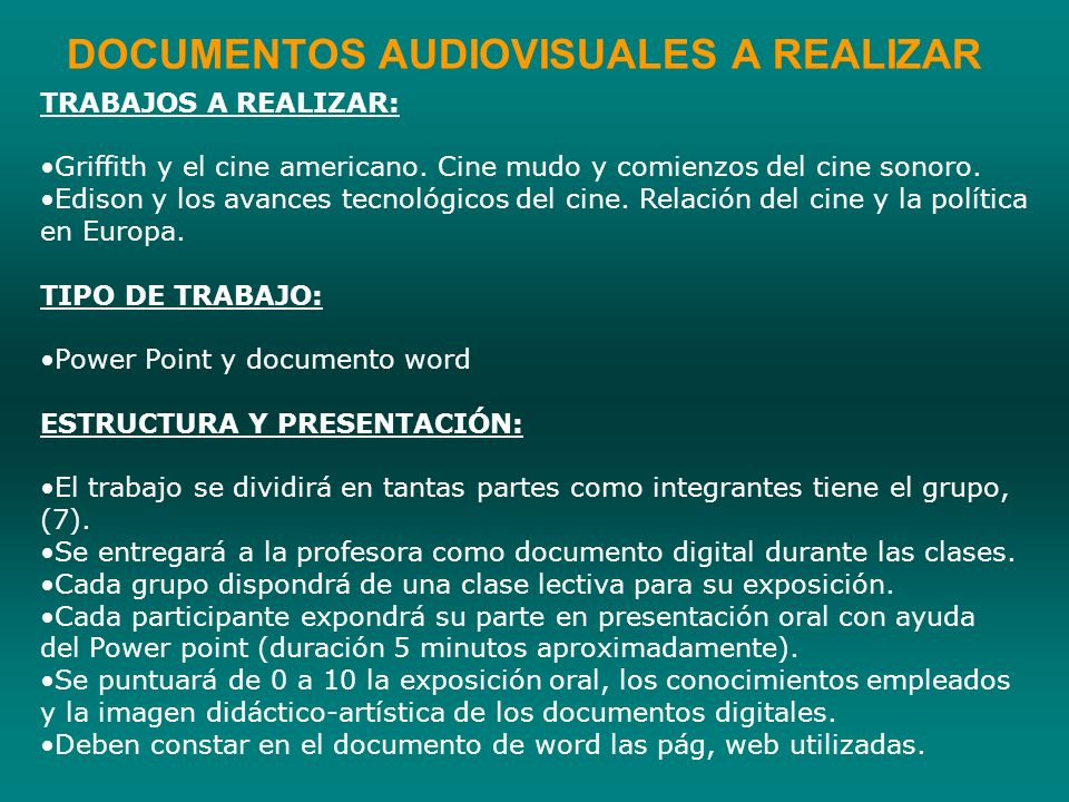 DOCUMENTOS AUDIOVISUALES A REALIZAR