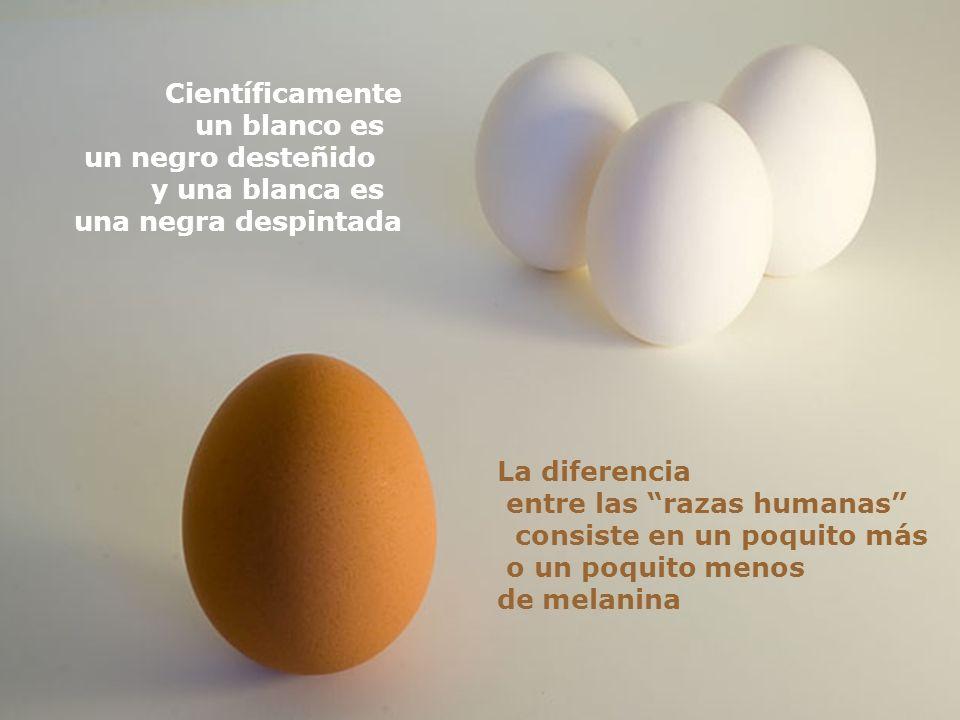 Científicamente un blanco es. un negro desteñido. y una blanca es. una negra despintada. La diferencia.
