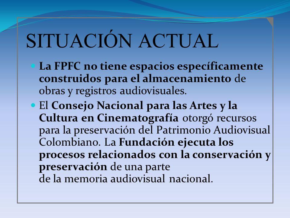 SITUACIÓN ACTUAL La FPFC no tiene espacios específicamente construidos para el almacenamiento de obras y registros audiovisuales.