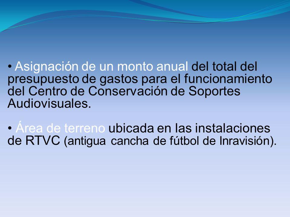 Asignación de un monto anual del total del presupuesto de gastos para el funcionamiento del Centro de Conservación de Soportes Audiovisuales.