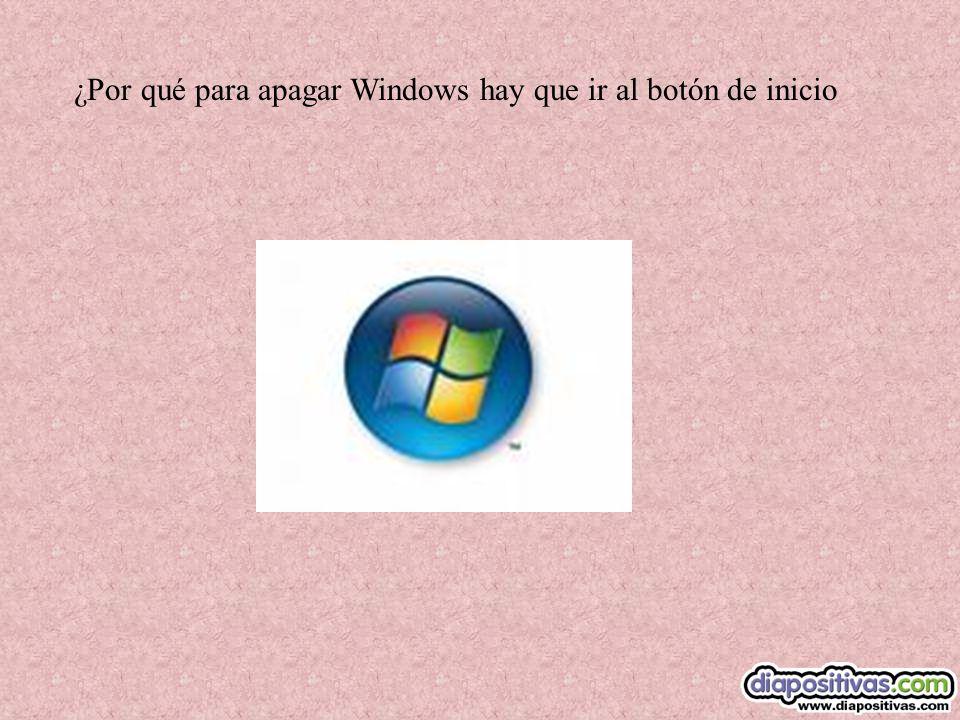¿Por qué para apagar Windows hay que ir al botón de inicio