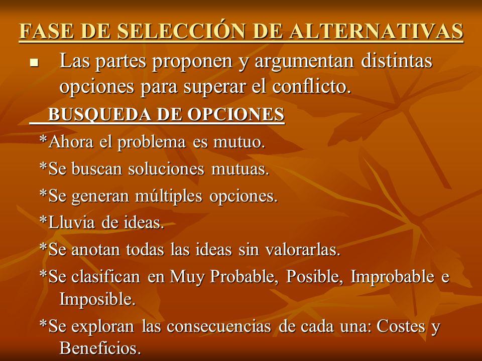 FASE DE SELECCIÓN DE ALTERNATIVAS