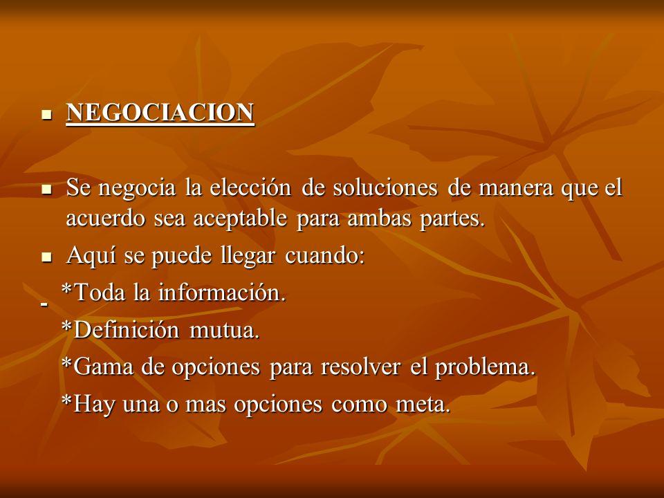 NEGOCIACION Se negocia la elección de soluciones de manera que el acuerdo sea aceptable para ambas partes.