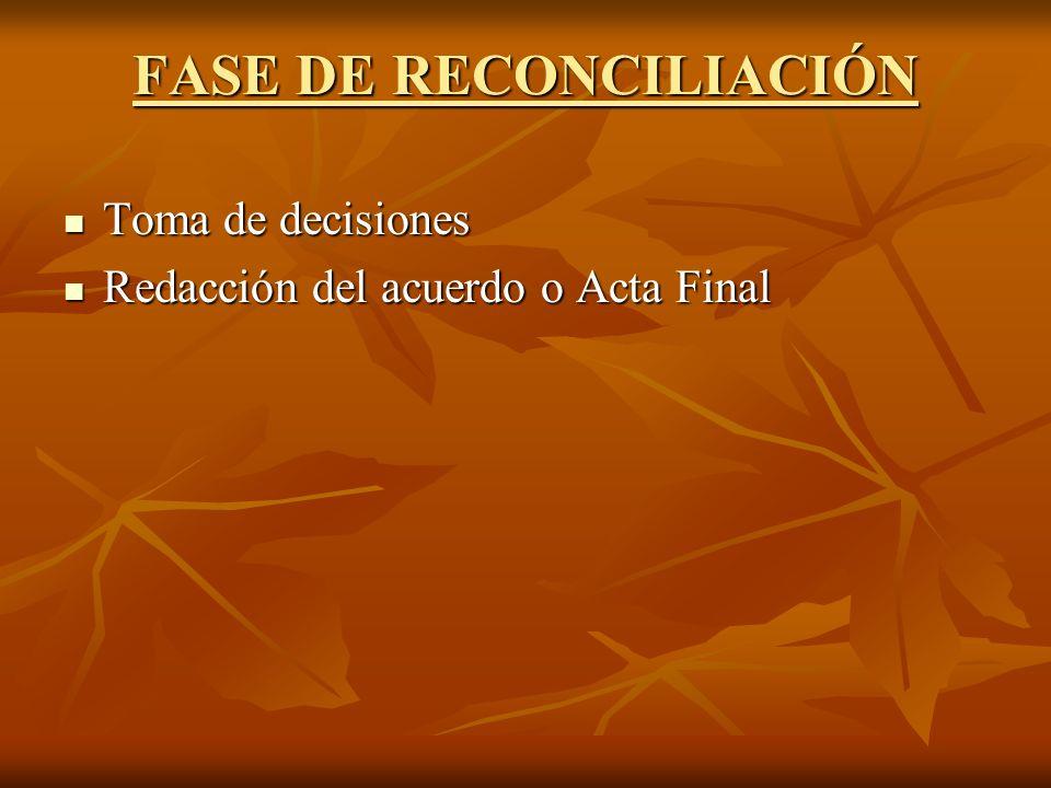 FASE DE RECONCILIACIÓN