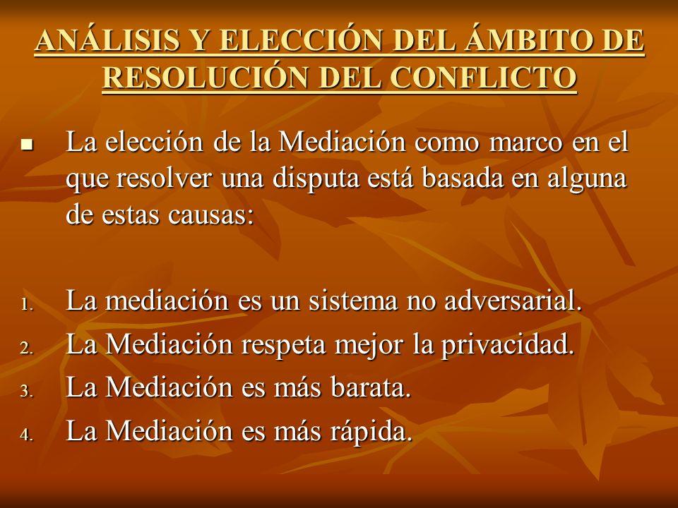 ANÁLISIS Y ELECCIÓN DEL ÁMBITO DE RESOLUCIÓN DEL CONFLICTO