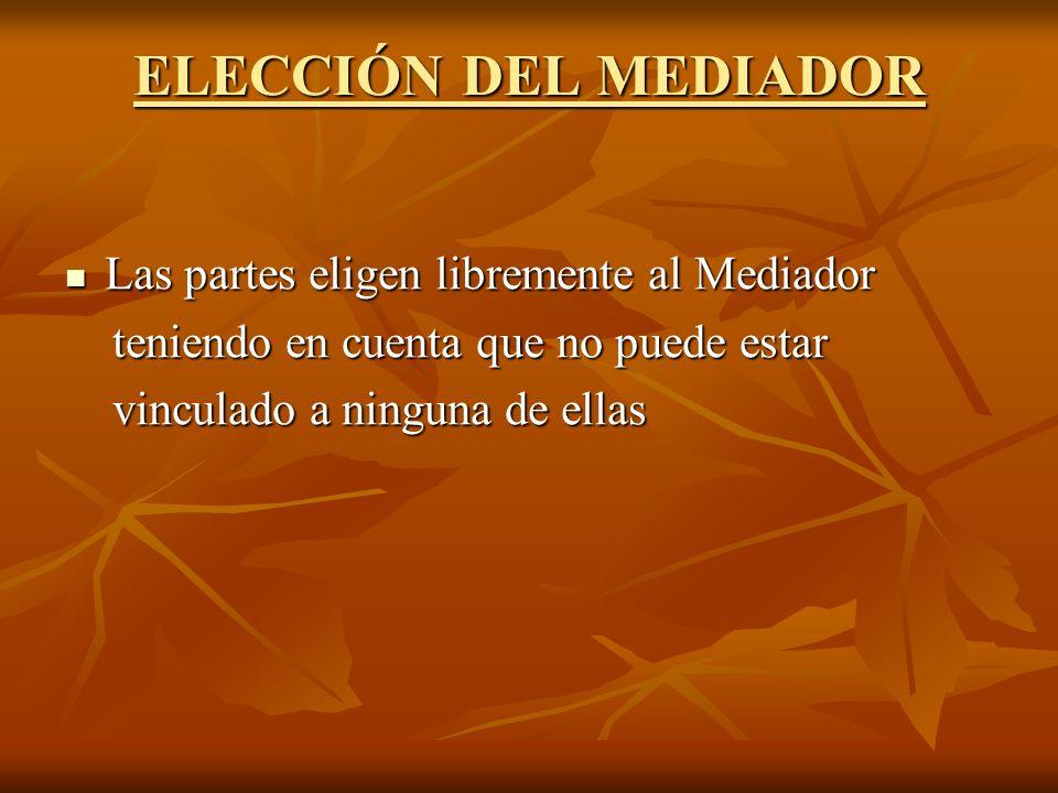 ELECCIÓN DEL MEDIADOR Las partes eligen libremente al Mediador