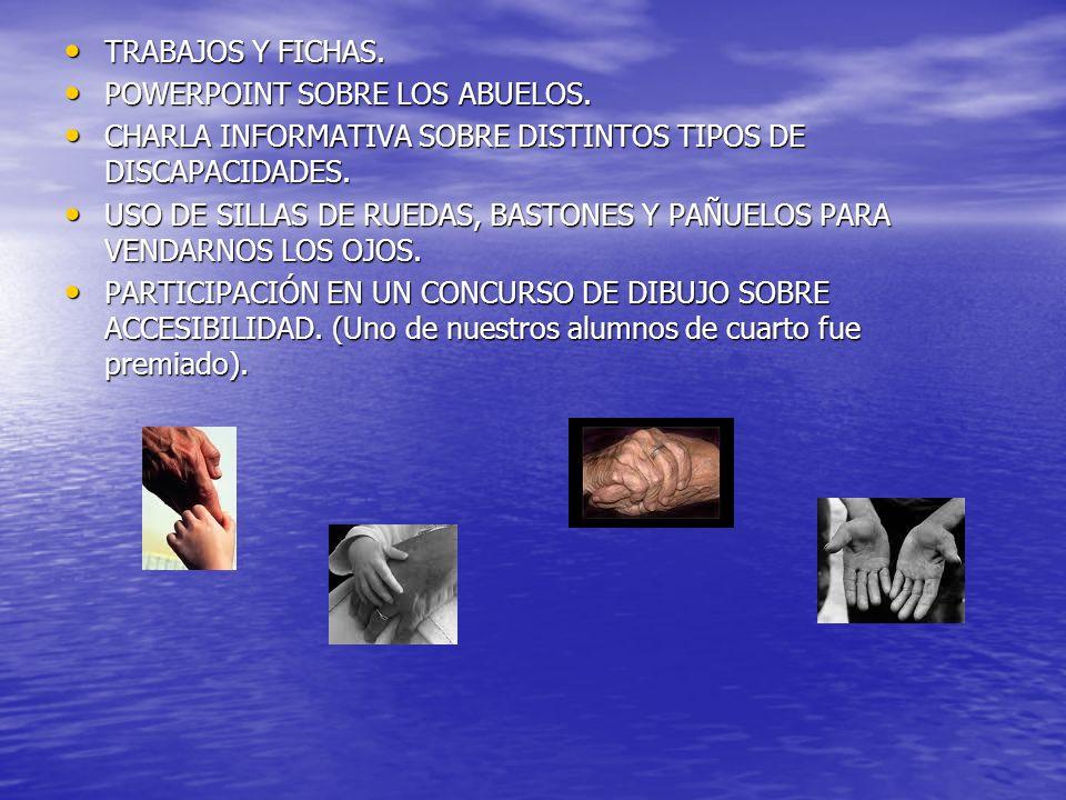 TRABAJOS Y FICHAS. POWERPOINT SOBRE LOS ABUELOS. CHARLA INFORMATIVA SOBRE DISTINTOS TIPOS DE DISCAPACIDADES.