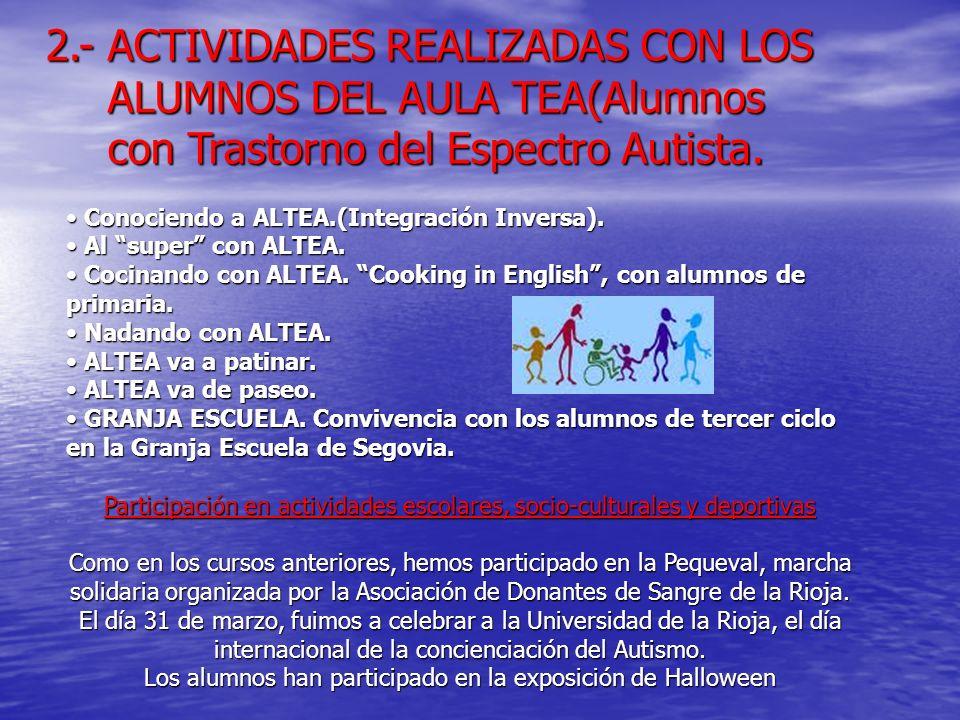 2.- ACTIVIDADES REALIZADAS CON LOS ALUMNOS DEL AULA TEA(Alumnos