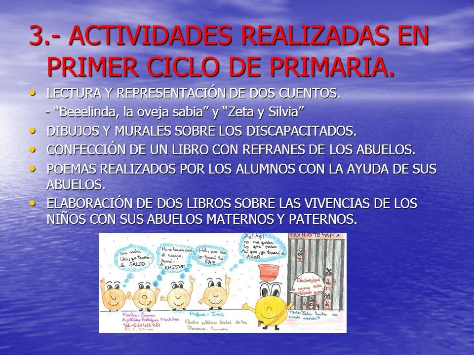 3.- ACTIVIDADES REALIZADAS EN PRIMER CICLO DE PRIMARIA.