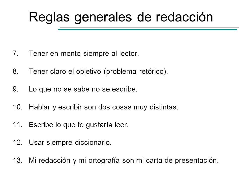 Reglas generales de redacción