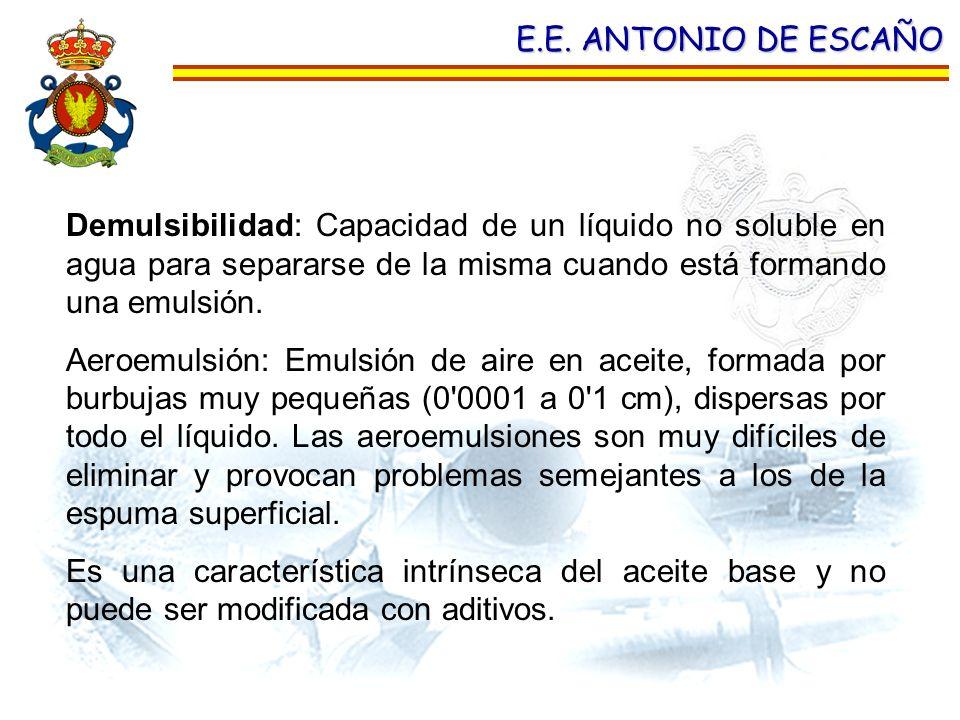 E.E. ANTONIO DE ESCAÑO Demulsibilidad: Capacidad de un líquido no soluble en agua para separarse de la misma cuando está formando una emulsión.
