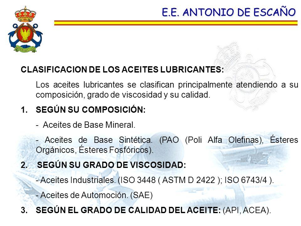 E.E. ANTONIO DE ESCAÑO CLASIFICACION DE LOS ACEITES LUBRICANTES: