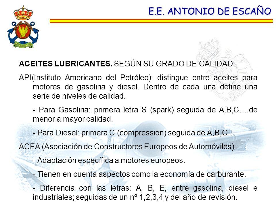 E.E. ANTONIO DE ESCAÑO ACEITES LUBRICANTES. SEGÚN SU GRADO DE CALIDAD.