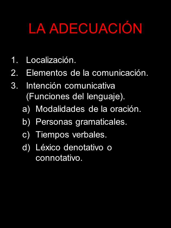 LA ADECUACIÓN Localización. Elementos de la comunicación.
