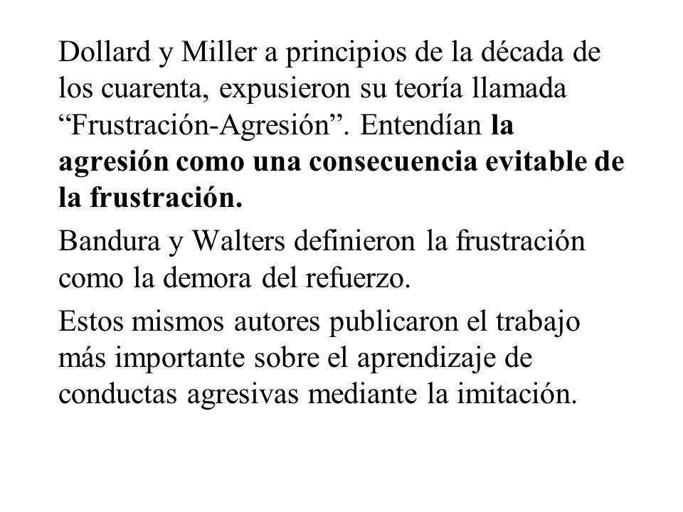 Dollard y Miller a principios de la década de los cuarenta, expusieron su teoría llamada Frustración-Agresión . Entendían la agresión como una consecuencia evitable de la frustración.