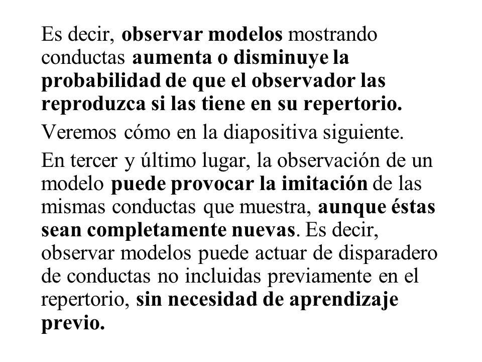 Es decir, observar modelos mostrando conductas aumenta o disminuye la probabilidad de que el observador las reproduzca si las tiene en su repertorio.
