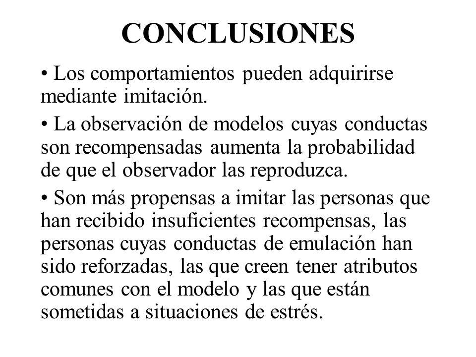 CONCLUSIONES Los comportamientos pueden adquirirse mediante imitación.
