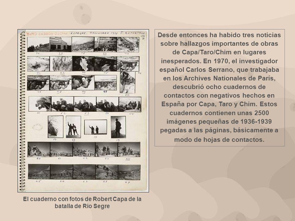 El cuaderno con fotos de Robert Capa de la batalla de Rio Segre