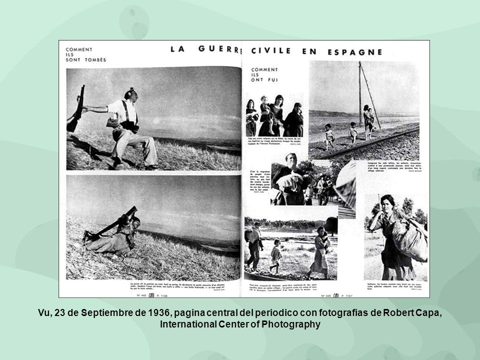 Vu, 23 de Septiembre de 1936, pagina central del periodico con fotografias de Robert Capa, International Center of Photography