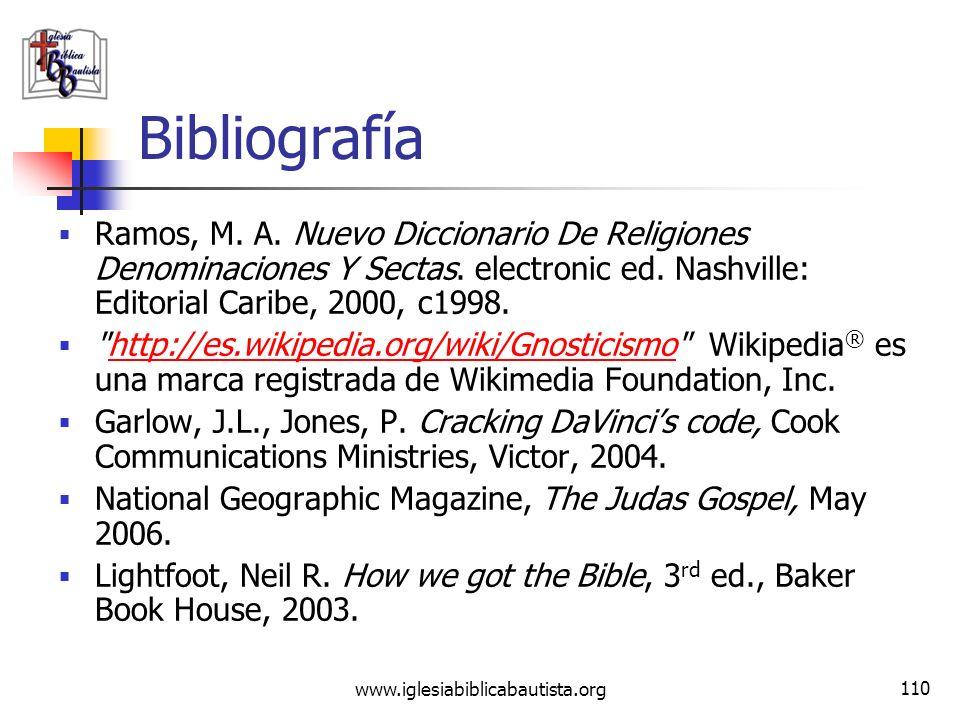 BibliografíaRamos, M. A. Nuevo Diccionario De Religiones Denominaciones Y Sectas. electronic ed. Nashville: Editorial Caribe, 2000, c1998.