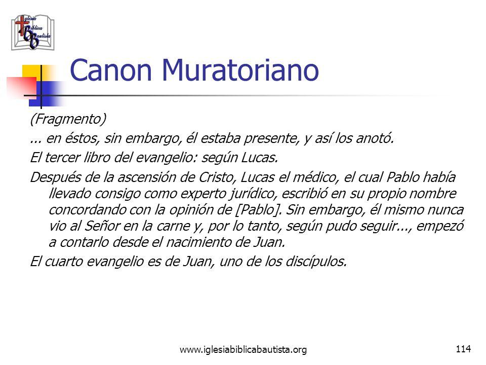 Canon Muratoriano (Fragmento)