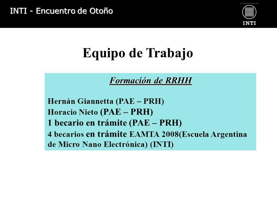 Equipo de Trabajo Formación de RRHH 1 becario en trámite (PAE – PRH)