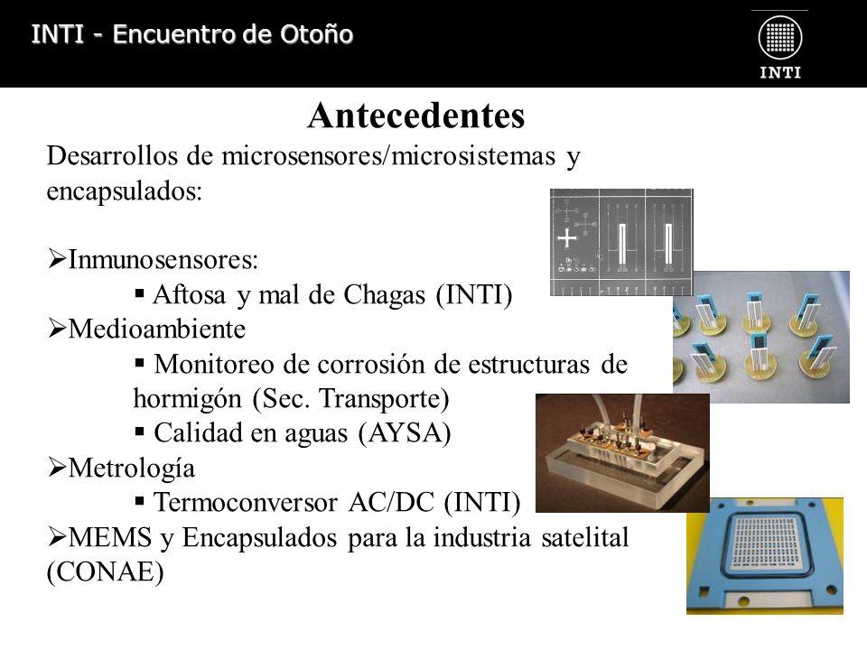 Antecedentes Desarrollos de microsensores/microsistemas y encapsulados: Inmunosensores: Aftosa y mal de Chagas (INTI)