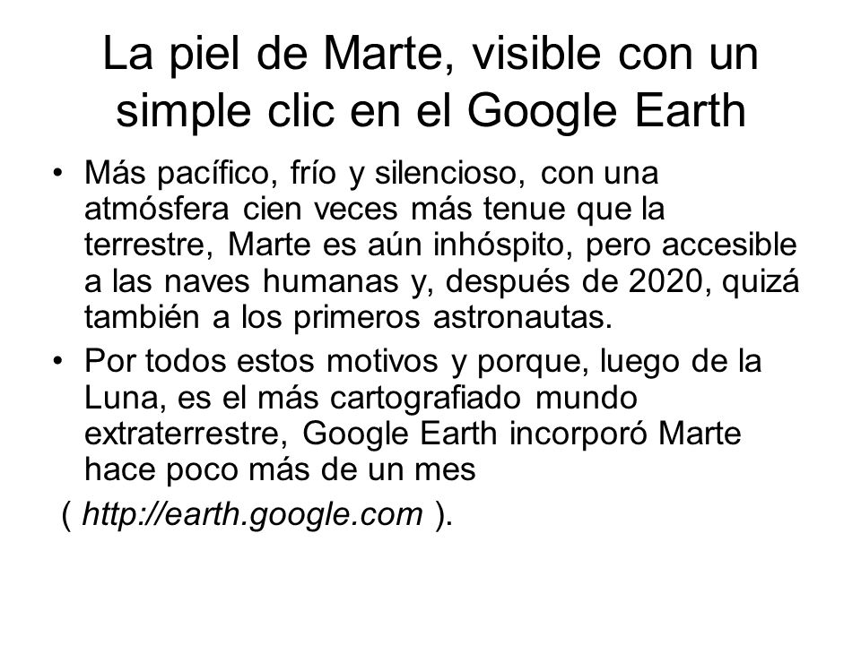 La piel de Marte, visible con un simple clic en el Google Earth