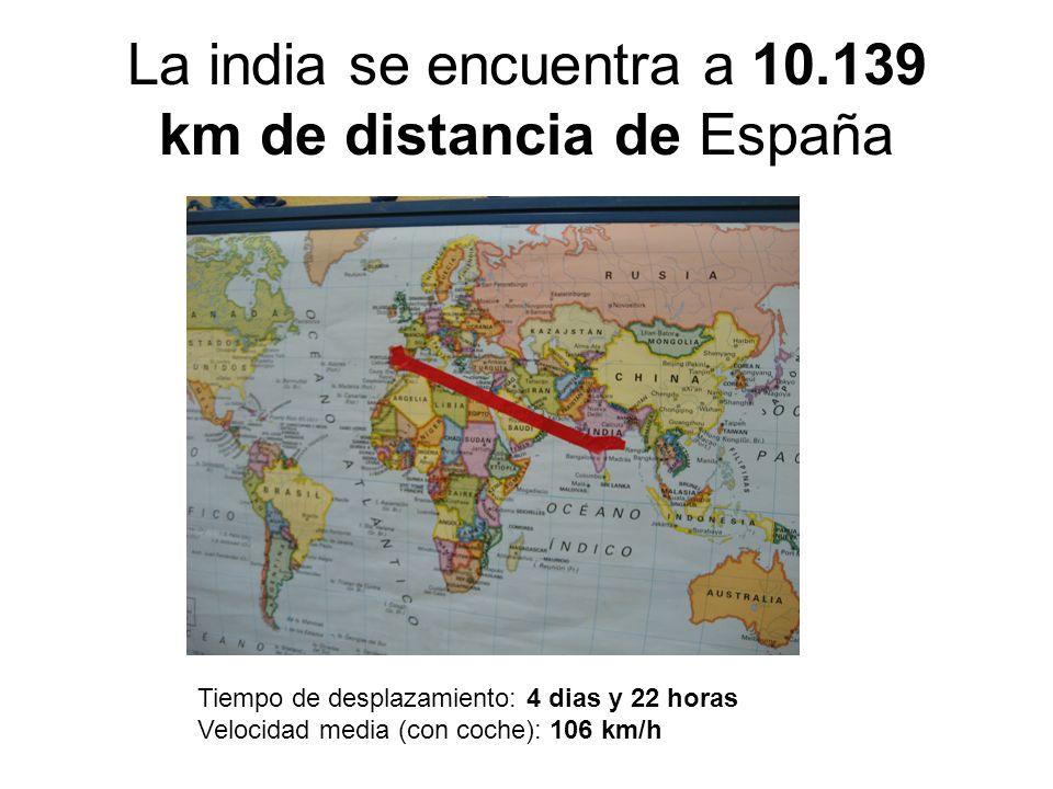 La india se encuentra a 10.139 km de distancia de España