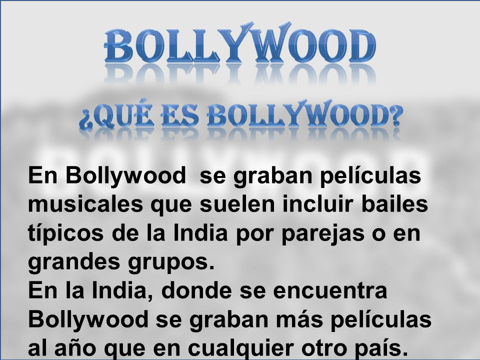 Bollywood ¿qué es bollywood