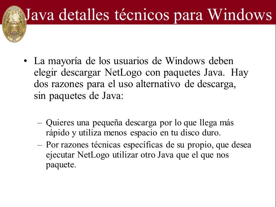 Java detalles técnicos para Windows