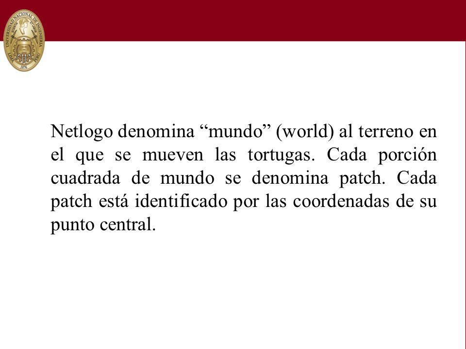 Netlogo denomina mundo (world) al terreno en el que se mueven las tortugas.