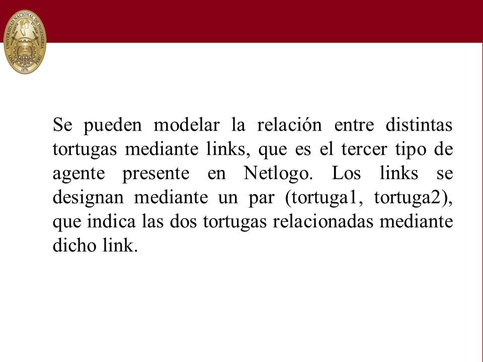 Se pueden modelar la relación entre distintas tortugas mediante links, que es el tercer tipo de agente presente en Netlogo.