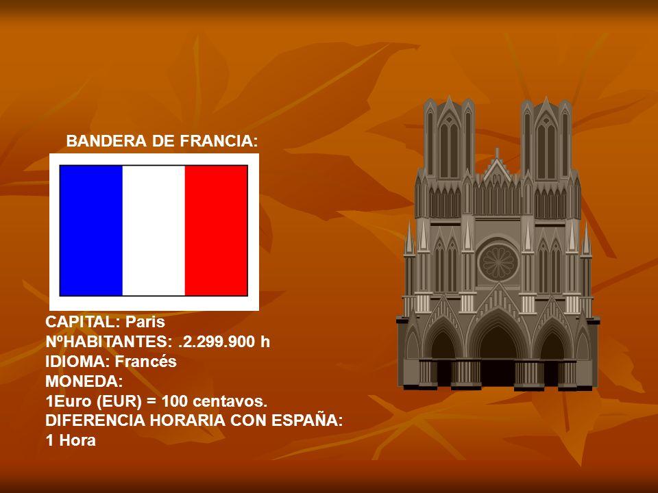 BANDERA DE FRANCIA: CAPITAL: Paris. NºHABITANTES: .2.299.900 h. IDIOMA: Francés. MONEDA: 1Euro (EUR) = 100 centavos.