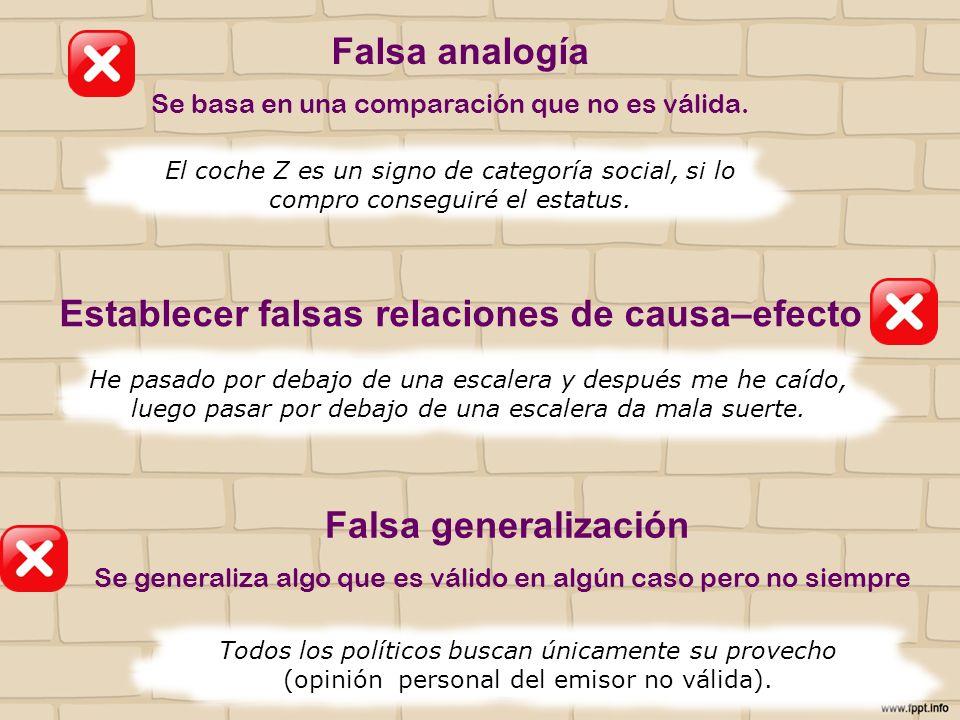 Establecer falsas relaciones de causa–efecto