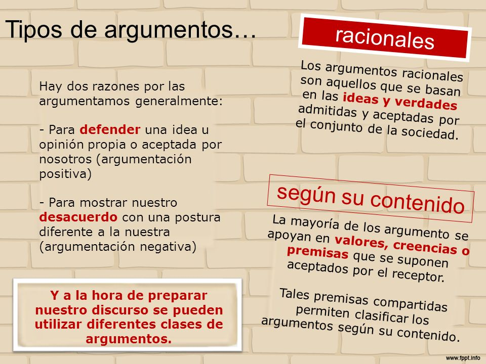 Tipos de argumentos… racionales según su contenido